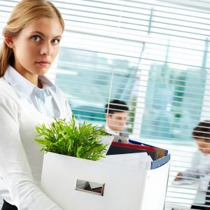 woman leaving office